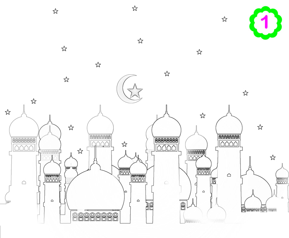 Colouring page of a mosque, Muslim kids activity, Islamic colouring, Islamic activities for kids, ADaBi